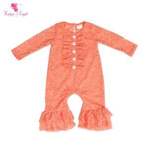 Image 1 - Kaiya Angel Newborn dziewczyny z długim rękawem brzoskwinia koronki Romper dla dzieci moda dla dzieci jesień w stylu Ruched kombinezon fabryka hurtownie jeden kawałek