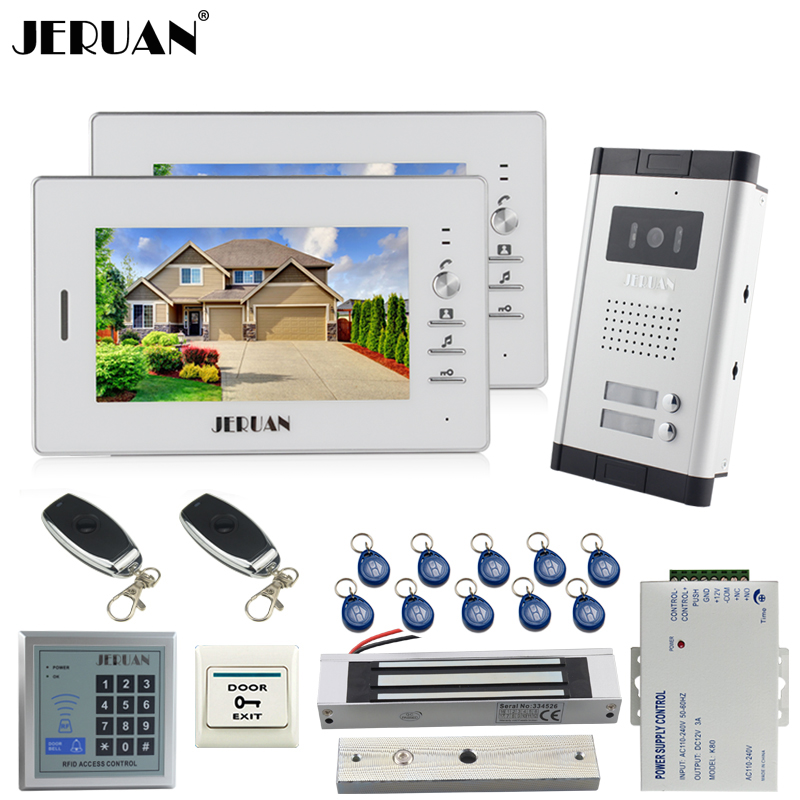 JERUAN new 7 inch LCD video door phone 2 white Monitor 1 HD Camera Apartment 1V2 Doorbell+RFID Access Control+FREE SHIPPING jeruan apartment 4 3 video door phone intercom system kit 2 monitor hd camera rfid entry access control 2 remote control