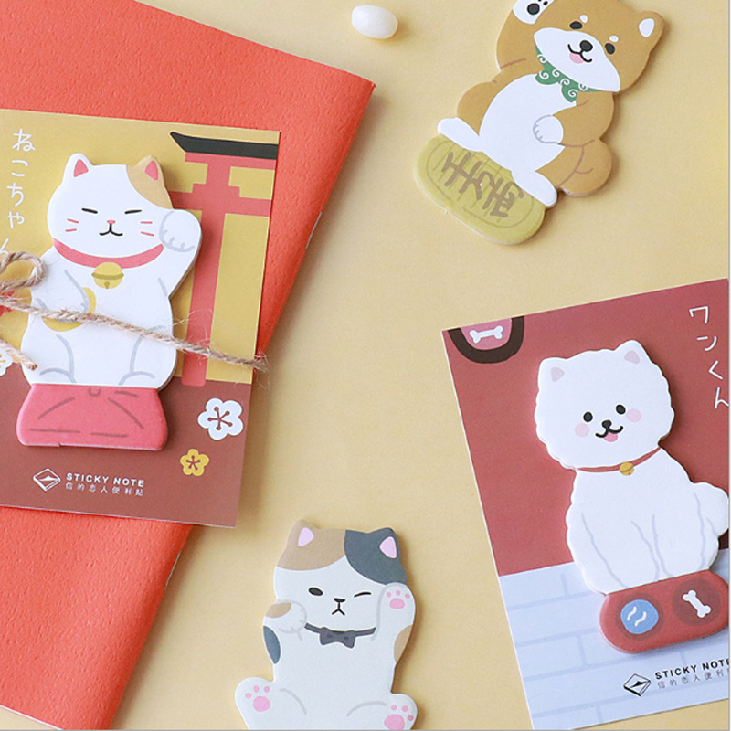 1X Lucky Cat And Puppy Memo Pad Cute Kawaii Sticky Notes Post School Supplies Planner Stickers Paper Bookmarks Stationery