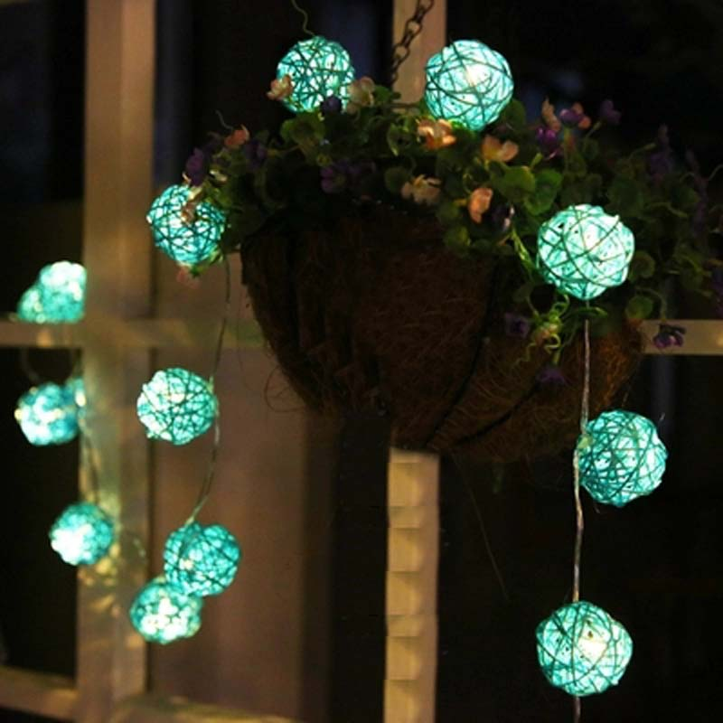 20 Coffee Rattan Ball Lights Battery Operated LED Christmas Lights