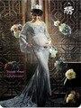 Беременная Женщина Фотография Реквизит Фото Стрелять Красивые Серые Кружева Материнства Трейлинг-Нежный Два Слоя Платье Фантазии Ребенка Душ