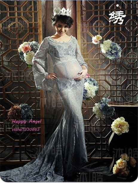 Pregnant Woman Photography Props Photo Shoot Beautiful Gray Lace Maternity Trailing Gentle Two Layer Dress Fancy Baby Shower