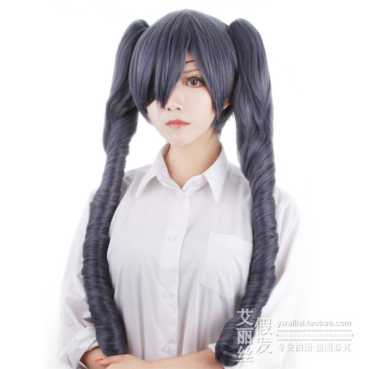 MCOSER 80cm Long Grey Mixed Hot Japanese Anime Black ...