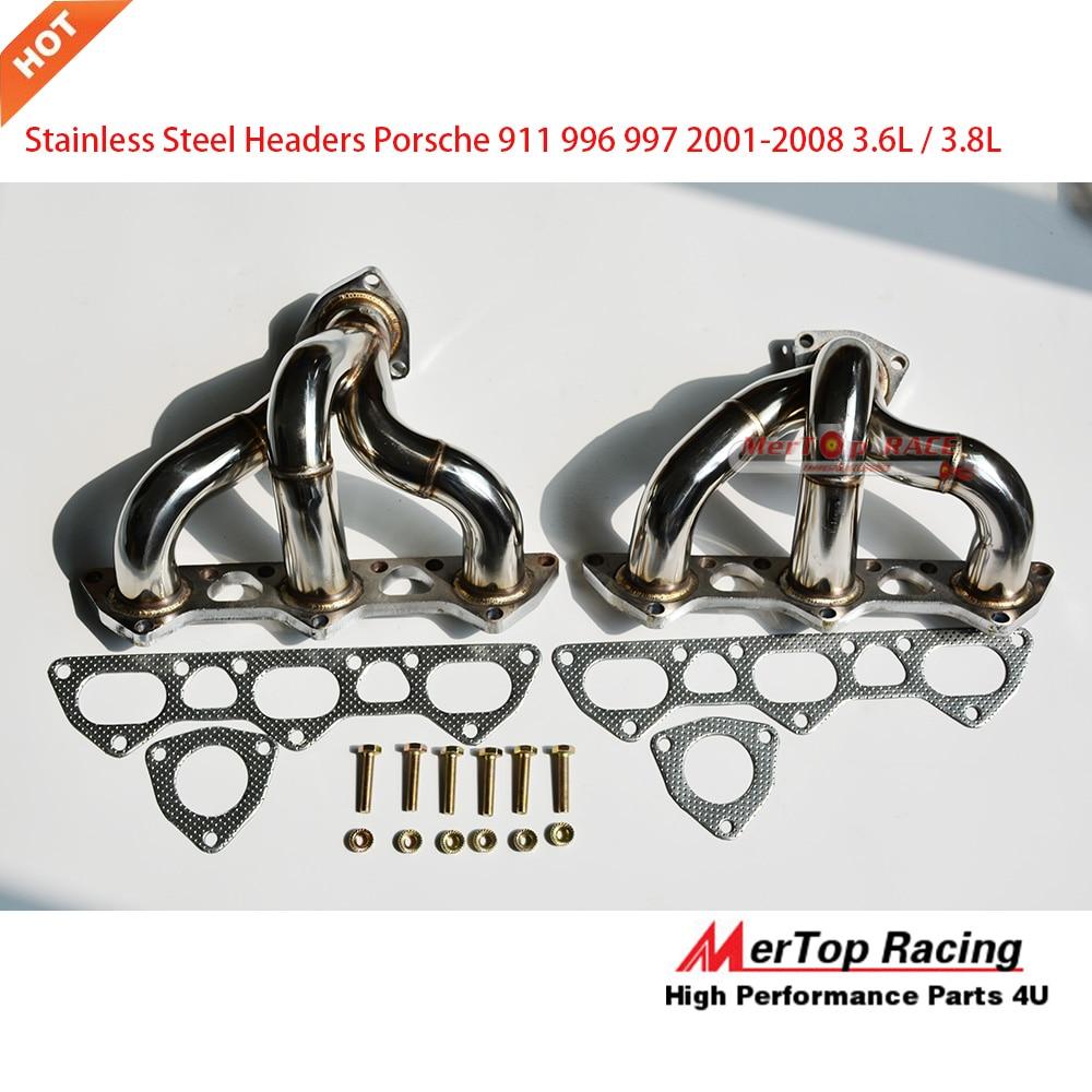 hight resolution of mertop race for 996 997 01 08 porsche 911 twin turbo stainless steel header exhaust manifold fits porsche