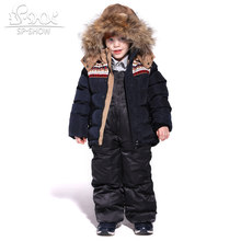 2019SP-SHOW Winter Children Boys And Girls Ski Suit Jacket Windproof Russian Warm Thick fleece Down Jacket Coat + Trousers(China)