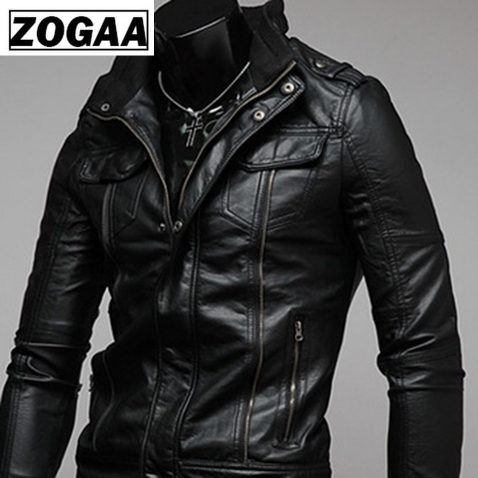 ZOGAA 2019 Hot Sale Gentlemen Cavalier PU Leather Jacket Vintage Retro Moto Faux Punk Leather Jackets Motorcycle Clothing Coats