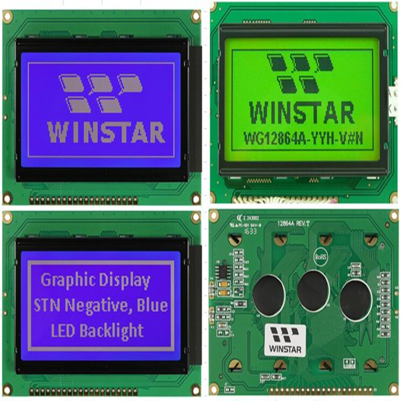 цена WG12864A WINSTAR is a monochrome graphic LCD 128x64 module screen green backlight,New and original