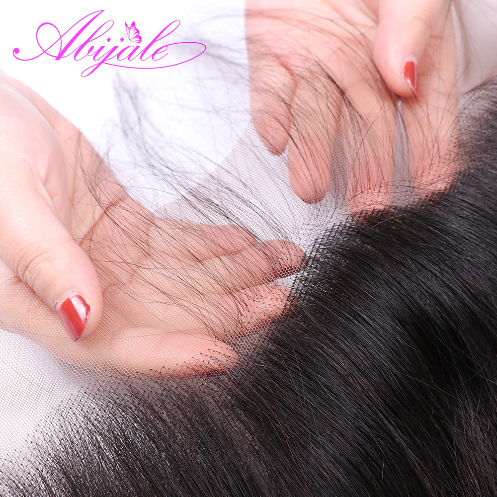 Abijale Straight Hair Bundles With Frontal Non Remy Lace Frontal Closure With Bundles Brazilian Hair Weave Bundles With Closure