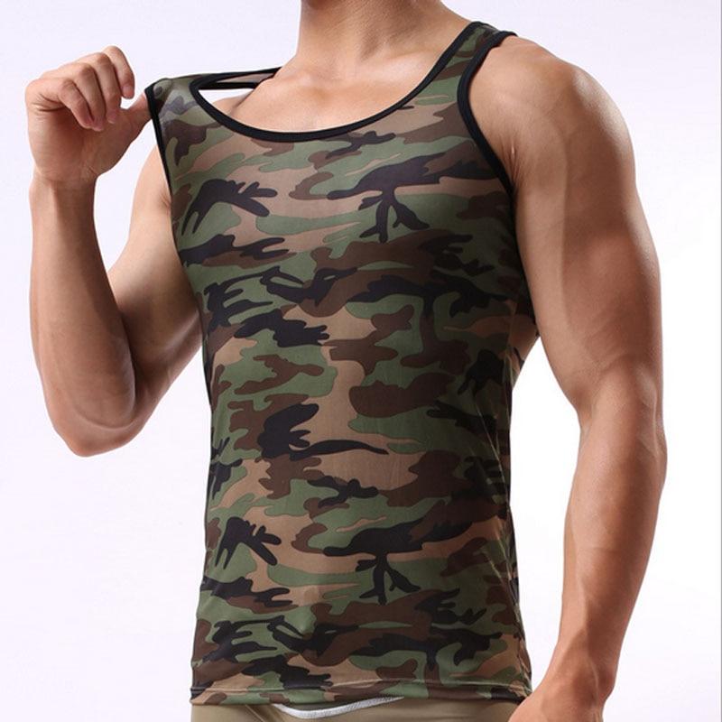 Camouflage mehed tank top brändi lycra kulturismi fitness singlets - Meeste riided - Foto 2