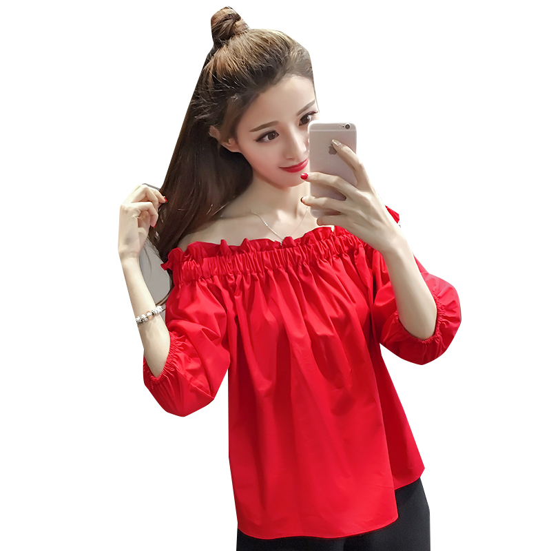 2018 New Summerach Ruffles Short Sleeve Loose Red A Word Shoulder Garment Off-the-shoulder Holiday Sea Blouse Shirt 2143