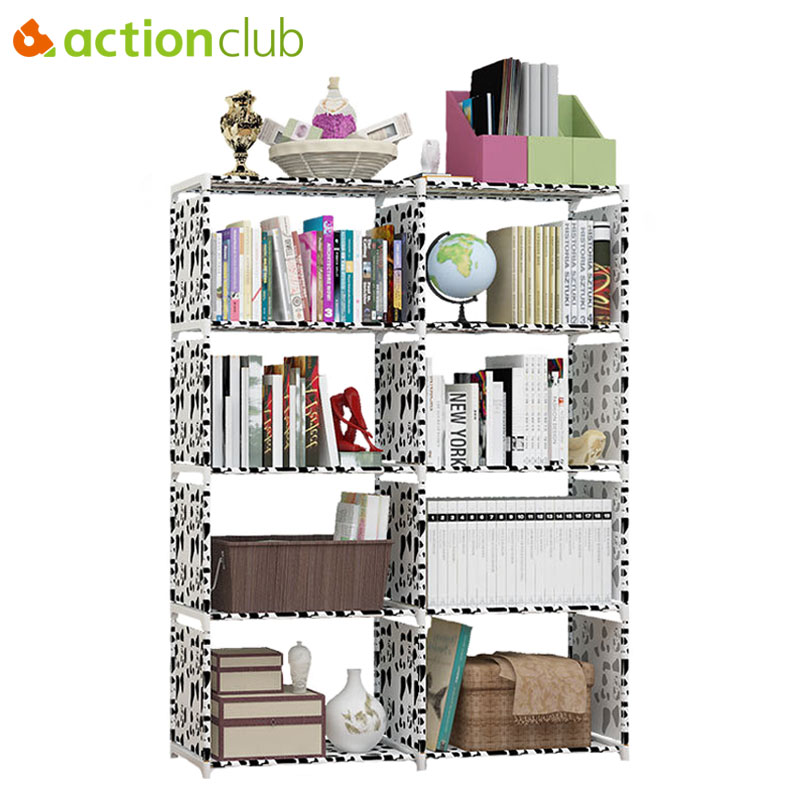 Actionclub Multi-purpose DIY Assembled Book Shelf Student Simple Bookcase Combination Reinforcement Double Rows Storage Cabinets shelf