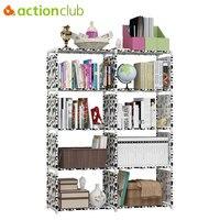Actionclub Multi purpose DIY Assembled Book Shelf Student Simple Bookcase Combination Reinforcement Double Rows Storage Cabinets