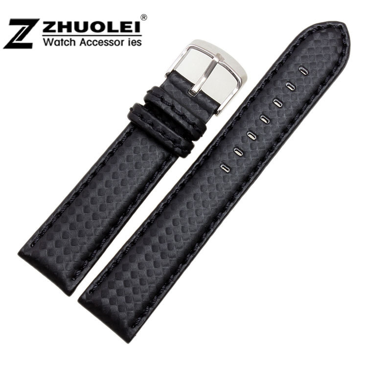 все цены на  New Arrival!!! 22 Watch Band Carbon Fibre Watch Strap With Soft Genuine Leather Lining Stainless Steel Clasp Free Shipping  в интернете