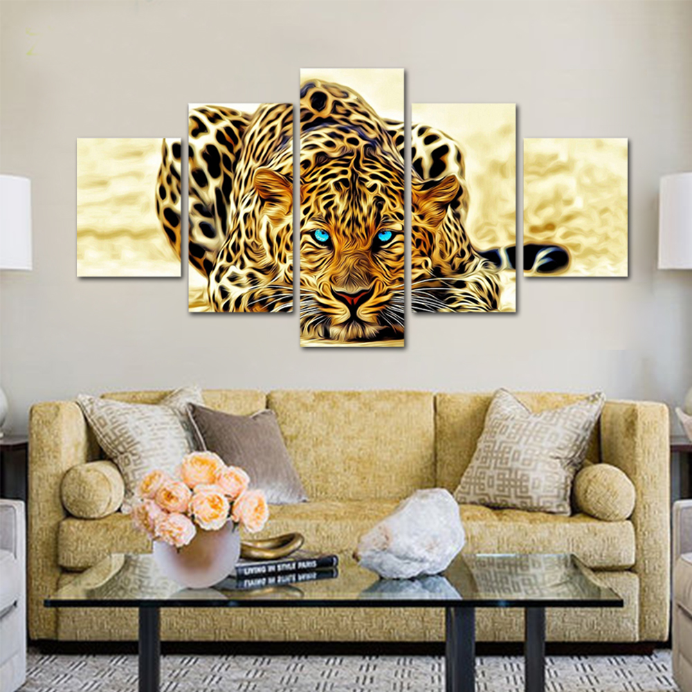Unframed HD Print 5 Canvas Art Paintings Lurking Leopard Living Room Decorative Inkjet Painting Module Mural Free Shipping
