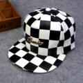2016 New black white plaid hip hop bones brand pu leather grid cool casual flat bsaeball caps Gorras Snapback hats for men women