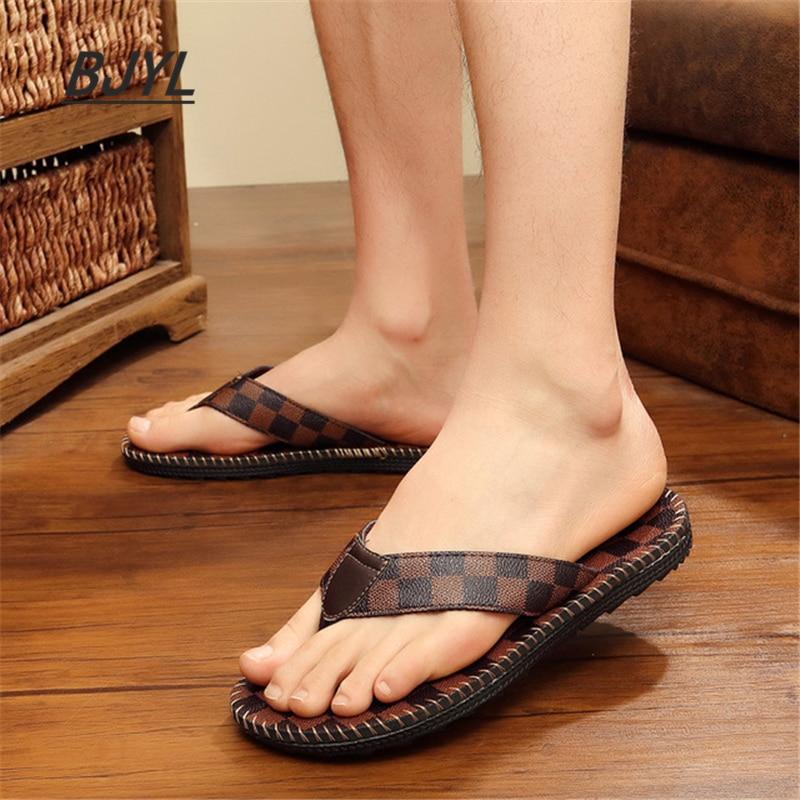 Flip-flops 19 Sommer Neue Hausschuhe Mode Casual Sandalen Flut Männer Der Wort Zu Drag Männer Strand Schuhe Offene Spitze Sandalen Herrenschuhe