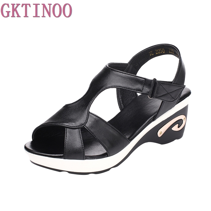 2017 summer new women sandals genuine leather black and white plus size casual mom shoes wedges female sandals aiyuqi womens summer sandals wedges genuine leather women s sandals soft bottom casual comfort mom shoes female