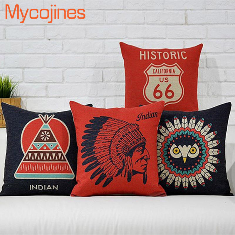 American Indian Feather Cushion Cover Black Owl Pillow Cover USA History 66 Route Pillowcase Home Decorative Throw pillows Cojin
