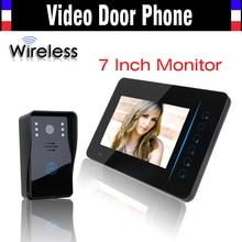 Intercomunicador Video sin hilos teléfono de la puerta sistema de 7 pulgadas IR Night Vision Video timbre de la cámara a prueba de agua 1 cámara 1 monitores Kits