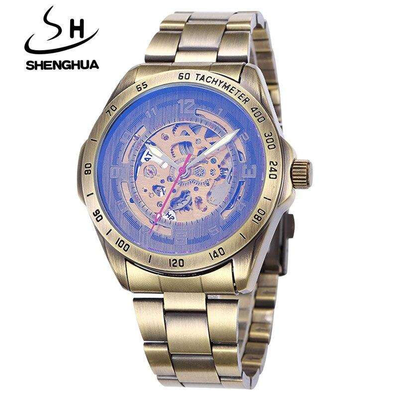 daee0085c83 Shenhua relógios homens relogio masculino moda vintage bronze esqueleto  automático de auto de vento relógios mecânicos homens relógios de pulso