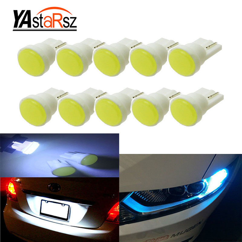 10x Ceramic Car Interior LED T10 COB W5W 168 Wedge Door Instrument Side Bulb Lamp Car Light White/Blue/Green/Red/Yellow Source 1x t10 ceramic cob w5w 168 car interior 1 led wedge door instrument side light bulb lamp car light source dc12v