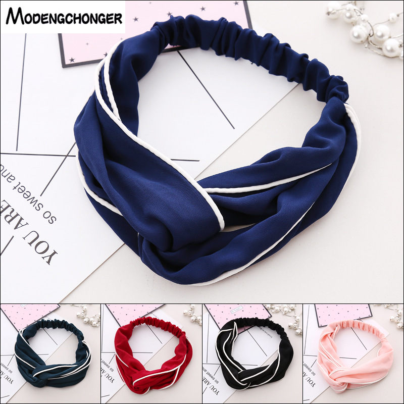 Hot Selling Cross Knotted Headband Elastic Hair Bands Pure Color Fabric White edged Lady 39 s Retro Hair Ornament Hair Accessories in Women 39 s Hair Accessories from Apparel Accessories