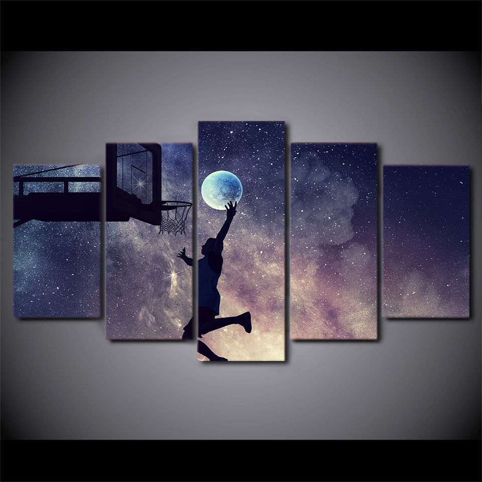 5 panneau HD imprimé lune joueur de basket-ball mur Art photos décor maison toile peinture Tableau décoration Murale Salon moderne