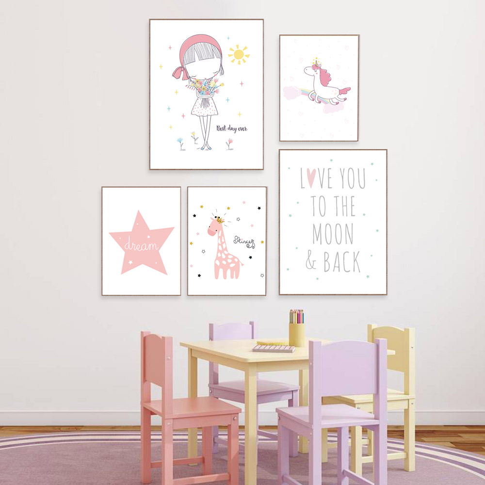 Girl Room Decoration Unicorn Posters And Prints Nursery Animal Wall Art Nordic Poster Pink Canvas Art Kids Room Decor Unframed in Painting Calligraphy from Home Garden