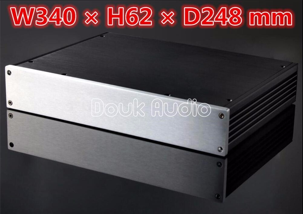 Douk Audio Amplifier Enclosure Aluminum Chassis Professional DIY Case HiFi Box wa19 aluminum chassis pre amplifier chassis enclosure box 313 425 90mm