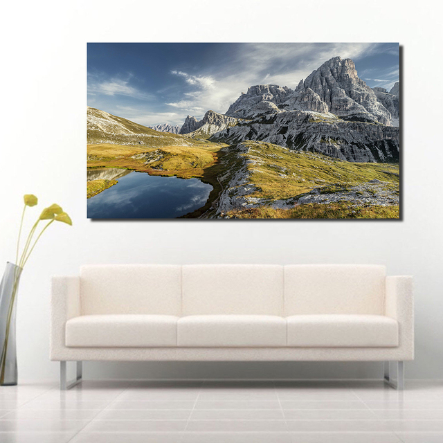 JQHYART Snow Mounta Landscape Painting Wall Pictures For Living Room Painting Canvas Art Posters And Prints Home Decor No Frame