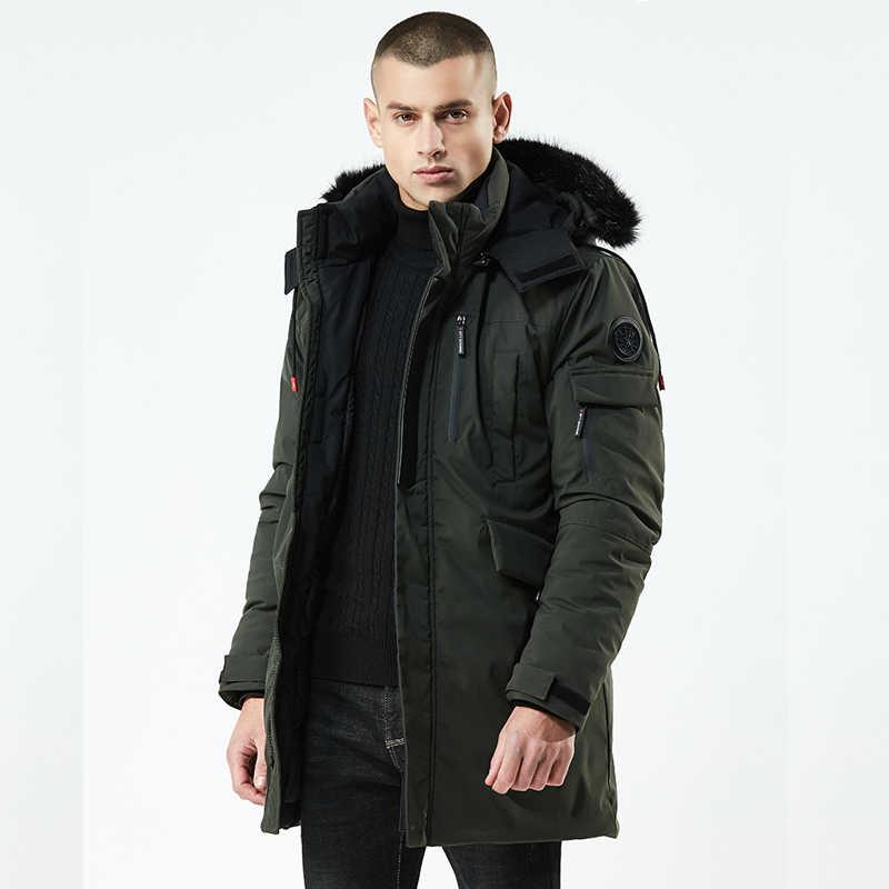Marke ente daunenjacke männer pelzkragen Winterjacke männer dicke warme herren weiße ente daunenmantel jaqueta masculina