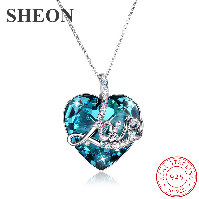SHEON Luxury LOVE Heart Crystal Pendant 925 sterling silver Necklace Sweater Chain for Lover Fine Anniversary Jewelry GiftSHEON Luxury LOVE Heart Crystal Pendant 925 sterling silver Necklace Sweater Chain for Lover Fine Anniversary Jewelry Gift