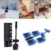 무거운 가구 발동기 도구 세트 무거운 물건 이동 도구 가구 수송 기중 장치 4 바퀴 달린 발동기 롤러 + 1 휠 바 손 도구