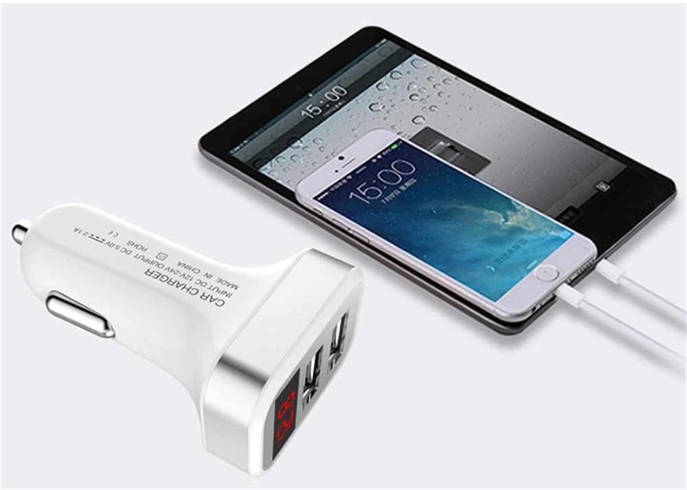 CARPRIE 2019 gran venta cargador de coche 1 PC de seguridad rápido 2 puertos USB con pantalla LED adaptador de teléfonos inteligentes para todos los modelos 5 V 2.1A 904189