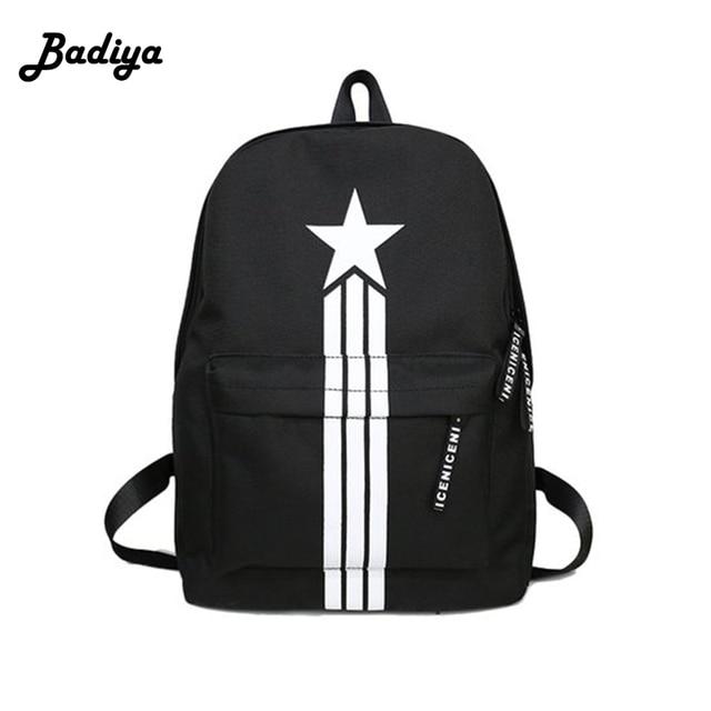 Unisex Cool Backpack Star Printed Design Nylon Men Women Casual