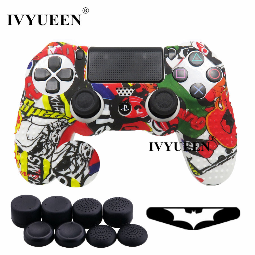 все цены на IVYUEEN 10 in 1 Studded Soft Silicone Protective Skin Case for Sony Dualshock 4 PS4 Pro Slim Controller with 8 Analog Stick Cap