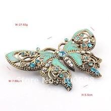 P168-434a бесплатная Shiping10PC / Lot голубой кристалл горного хрусталя камень эмаль роскошный бабочка контактный брошь