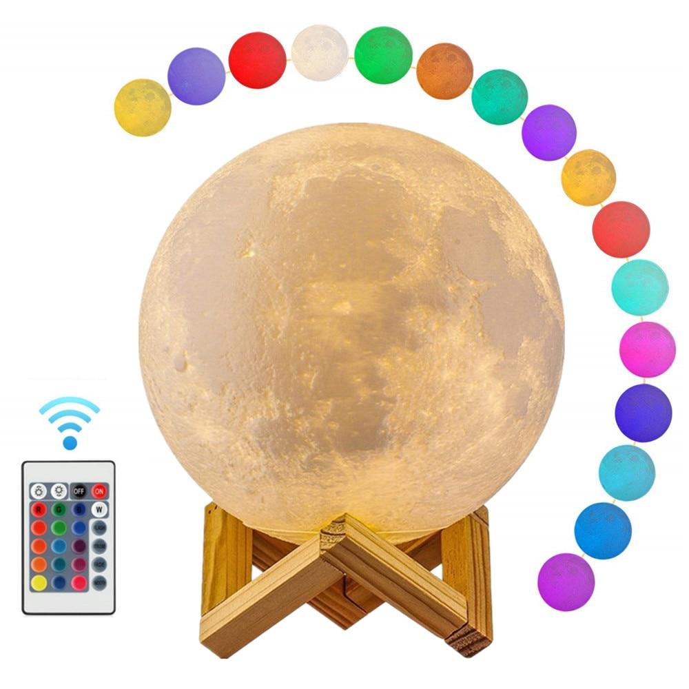 Luna luz 3D impreso Luna globo lámpara, 3D lámpara de Luna brillante con soporte, Luna lámpara de noche para decoración de dormitorio para niños