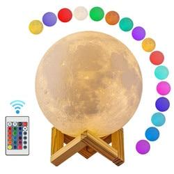 Moon Light 3D Print Moon Globe Lamp, 3D Glowing Moon Lamp With Stand, Luna Moon Lamp Night Light for Home Bedroom Decor Children