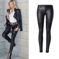 2018 Fashion Jeans Woman jeans Sexy Pu Leather Pants Women Fitness Skinny Jeans Women Stretch Pencil Jeans Mujer