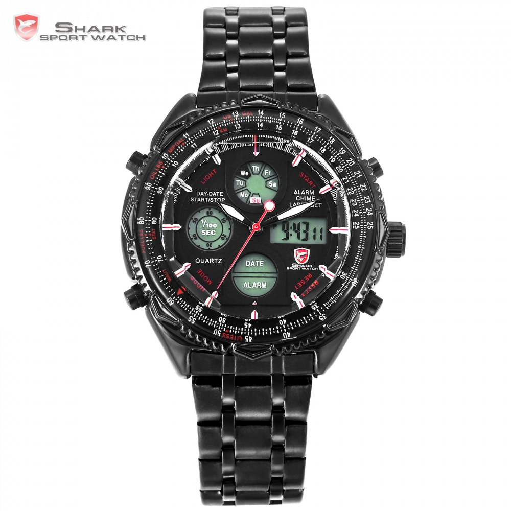 Eightgill Shark Sport Watch Digital LCD Analog Stainless Steel Band Date Day Chronograph Black Men Military Quartz Watches/SH116