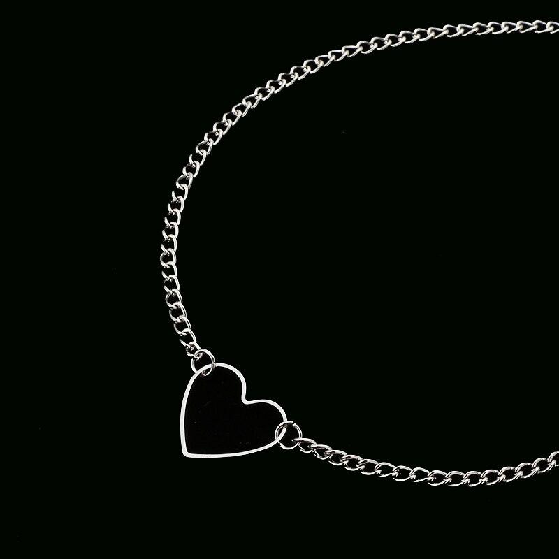 NK218, колье в форме сердца для женщин, ожерелье для ключицы, массивное ожерелье, ожерелье в форме сердца, изысканное ожерелье с подвеской, подарок - Окраска металла: silver