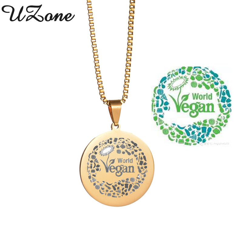 Vegan Symbol Logo Pendant Necklace