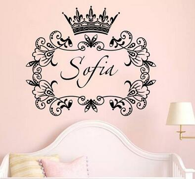 US $12.99 |Custom made Personalized Crown Baby Girls Bedroom Wall Sticker  Nursery Butterflies Vinyl Decal You choose name and color-in Wall Stickers  ...