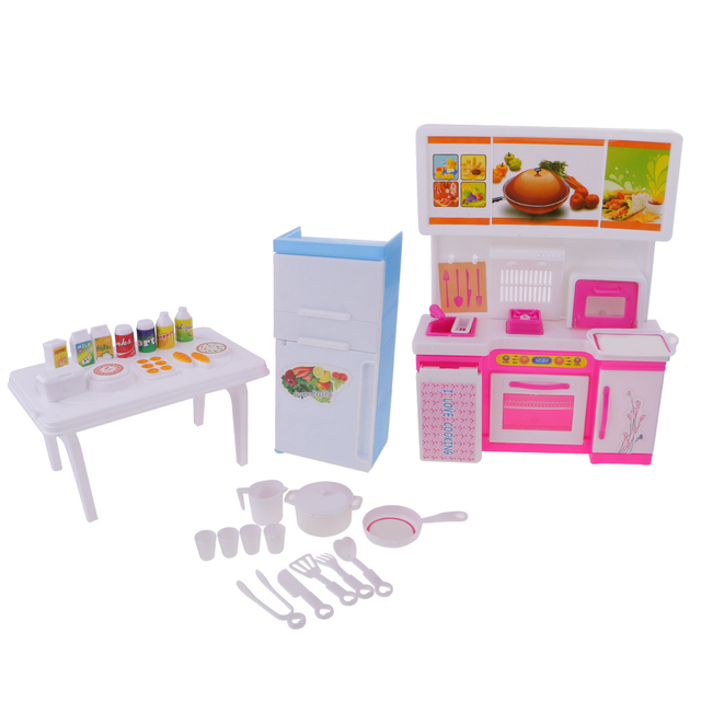 Dollhouse Kitchen Refrigerator Food Drink Pot Pan Cup Set Doll House