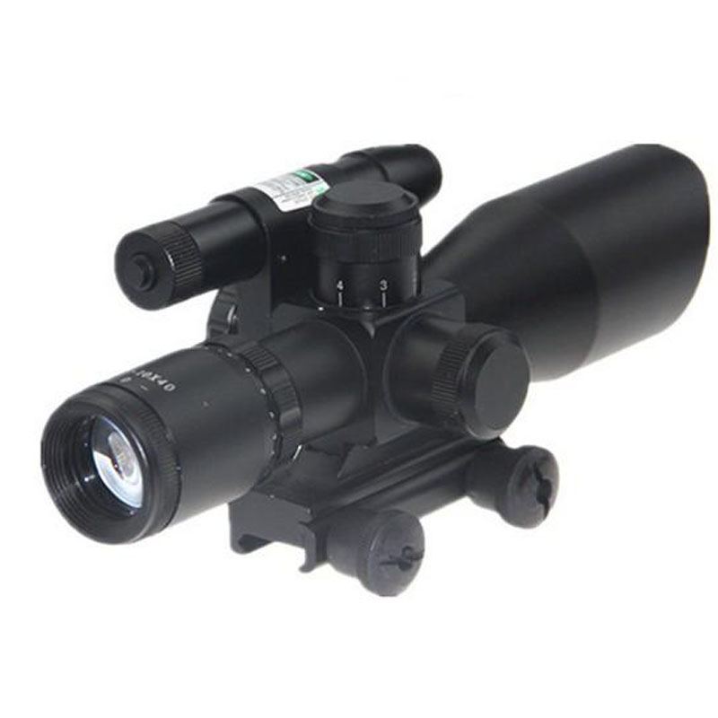 Tactical Compact Laser Riflescope 2.5-10x40 Rifle Scope Laser Green Sight Reflex Red Dual illuminated Mil-dot Sight