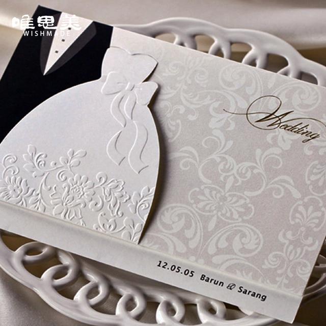 Wishmade 12pcs/lot Engagement Laser Cut Groom & Bride Dresses Wedding Invitations Weeding invitation Cards Decorations BH2046