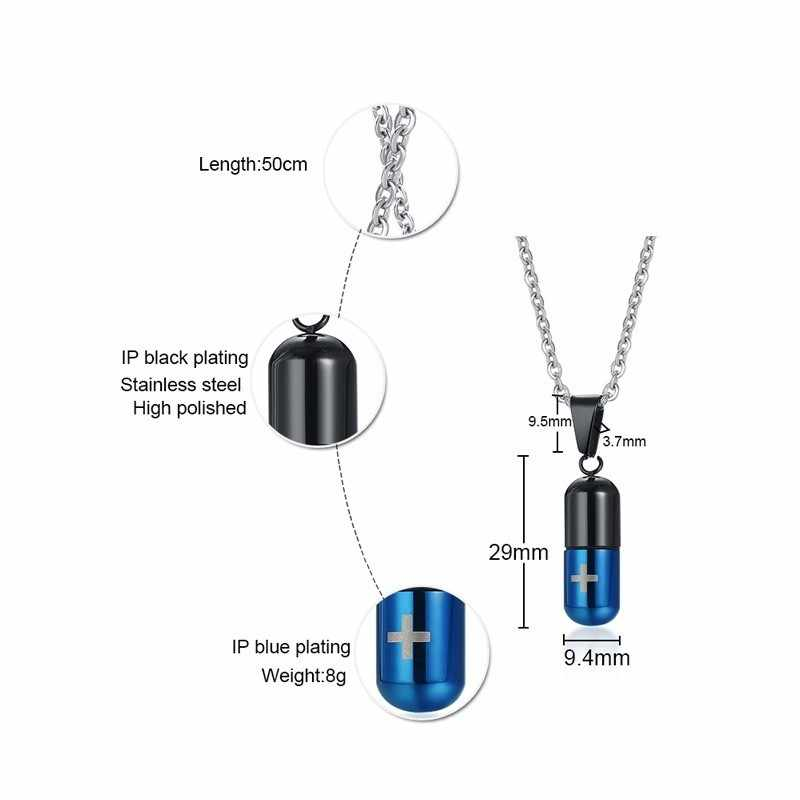 Men Necklace Pills Capsule Pendant Stainless Steel Drug Medication Openable Ash Cremation Jewelry Four Colors