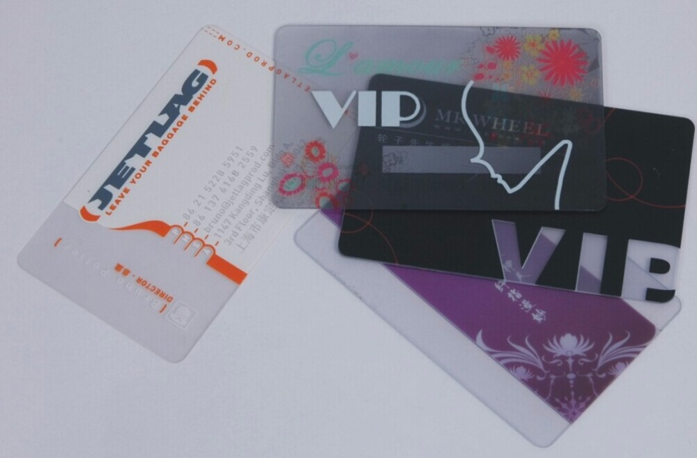 Transparent gold foil business card and smart card or RFID card ...