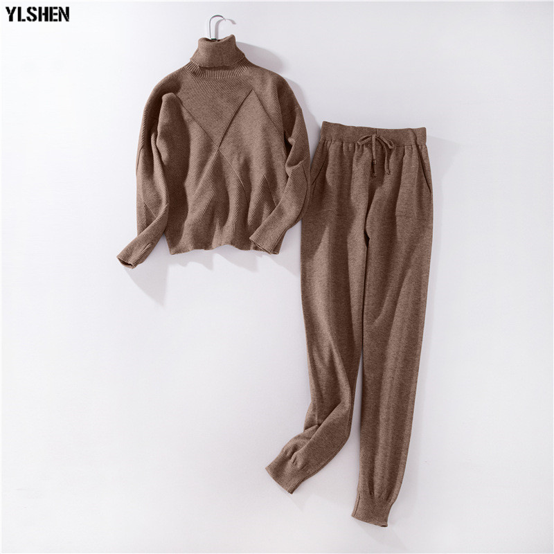 2 Two Piece Set Sweater Women Autumn Winter Knitted Tracksuit Turtleneck Sweaters Suit Outfits Knit Tops + Pants Matching Sets 0008